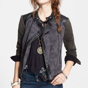 Free People Jacquard Vegan Moto Jacket